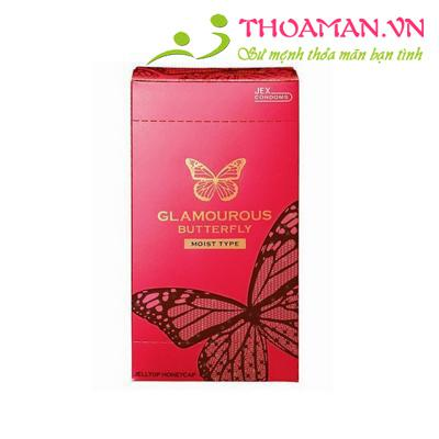 Bao cao su Jex Glamcurous Butterfly moist 1000-hộp 12c